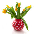 Vase With Yellow Tulips Royalty Free Stock Photography - 11618867