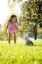 Young Asian Girl Training Puppy To Sit Stock Photography - 11628342