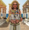 Egyptian Queen Cleopatra Pharaoh Holding Signs Of Power Royalty Free Stock Images - 116217649