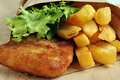Fish And Chips With Some Salad Royalty Free Stock Photos - 11672068