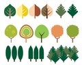 Set Of Flat Design Of Coniferous And Deciduous Trees Of Differen Stock Photo - 116776080