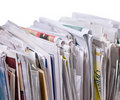 Vertical Pile Of Newspapers And Flyers Stock Photos - 11761343