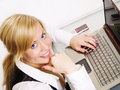 Smiling Blond Woman Working With Computer Stock Image - 11775781