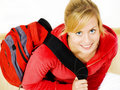 Smiling Teenager Sitting With Backpack Stock Images - 11775834