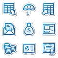 Banking Web Icons, Blue Contour Sticker Series Stock Photo - 11781750