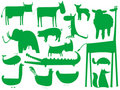 Animal Green Silhouettes On White Stock Photography - 11799312