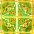 Portuguese Retro Glazed Tiles With Geometrical Pattern, Handmade Azulejos, Portugal Street Art, Abstract Background Stock Photography - 117957862