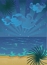 Cartoon Summer Nocturnal Beach With Clouds On Sky Stock Image - 11812551