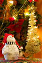 Christmas Snowman And Golden Tree Stock Photo - 11859030