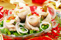 Herring Rolls With  Chive And Onion For Christmas Royalty Free Stock Photo - 11905795