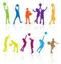 Kids Playing Basketball Kid Play Sports Child Children Silhouettes Silhouette Girls Girls Boy Boys Player Players Basket Ball Game Stock Photos - 11910693