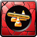 Construction Sign And Cones On Red Cracked Icon Royalty Free Stock Photography - 11924277