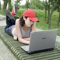 Teenager/Student With Laptop Stock Image - 1206141