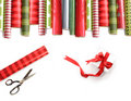 Rolls Of Colored Wrapping  Paper On White Stock Photos - 12038783