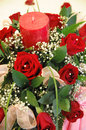 Bouquet Of Flowers And Candle Royalty Free Stock Photo - 12071595