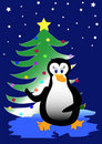 Bird Penguin With Christmas Tree Stock Image - 12113261