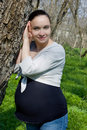 Pregnant Woman Admiring Spring Nature Stock Image - 12139071