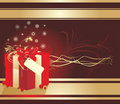 Decorative Box With Snowflakes And Red Bow. Card Royalty Free Stock Photography - 12164587