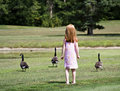 Girl With Geese Stock Photo - 1223180