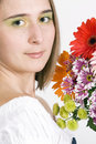 Beautiful Young Woman With Flowers Stock Photos - 12213473