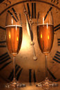 Champagne Glasses Ready To Bring In The New Year Royalty Free Stock Images - 12259839