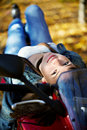 The Girl Lies On A Stylish Motorcycle Royalty Free Stock Image - 12272396