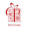 Christmas Present Box Made From Red Snowflakes Stock Image - 12352431