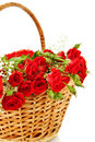 Red Roses In Wicker Basket Royalty Free Stock Image - 12361636