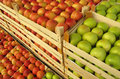 Apples In Selling Crates On Market Stock Photo - 12368020