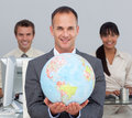 Attractive Manager Showing South America Royalty Free Stock Images - 12401759