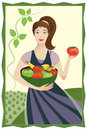 Happy Vegetable Garden Lady Stock Images - 12422814