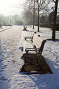 Park Bench In Snowy London Stock Photos - 12446703