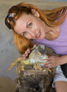 Portrait Of Woman With Iguana Stock Photography - 12474662