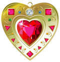 Red Ruby Heart Pendant Royalty Free Stock Images - 12485809