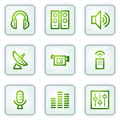 Media Web Icons, White Square Buttons Series Royalty Free Stock Photos - 12511248