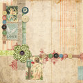 Pink Scrapbook Layout With Vintage Embellishments Stock Photos - 12552123