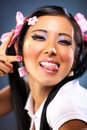 Young Japanese Woman Tease Face Emotion Royalty Free Stock Images - 12588369