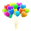 Bunch Of Colorful  Cartoon Heart Balloons Stock Photo - 12589750