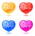 Set Of Vector Floral Hearts Royalty Free Stock Image - 12609746