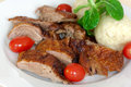 Baked Duck Slices With Dumplings,Cherry Tomatoes,G Royalty Free Stock Photography - 12611287