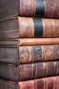 Pile Of Old Leather Bound Books Stock Images - 12612194