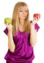 Beautiful Girl Holding Two Fresh Apples Royalty Free Stock Photography - 12618677