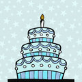 Light Blue Birthday Cake Stock Image - 12623021