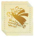 Bird Promoting Peace Gold With Border Royalty Free Stock Image - 12643786