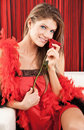 Beautiful Sexy Young Woman Posing With A Red Rose Royalty Free Stock Photography - 12661777