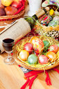 Easter Painted Eggs With Wine Bottle And Glass Stock Photo - 12663410