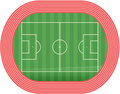 Football Soccer Field Pitch Vector With Racetrack Stock Images - 12681734