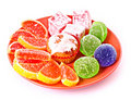 Fruit Jelly On Red Plate Royalty Free Stock Images - 12687199