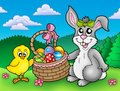 Cute Easter Bunny And Chicken Royalty Free Stock Images - 12694689