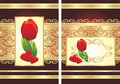 Tulip, Hearts And Gothic Ornament. Two Wrappings Royalty Free Stock Image - 12730686